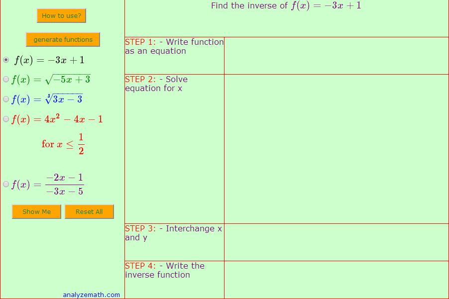Encontre a função inversa