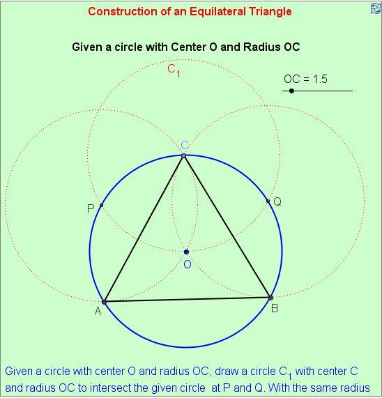Construção de um triângulo equilátero